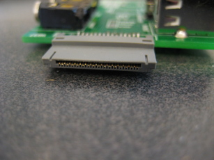Photo showing detail of the iPod connector and its orientation with the board