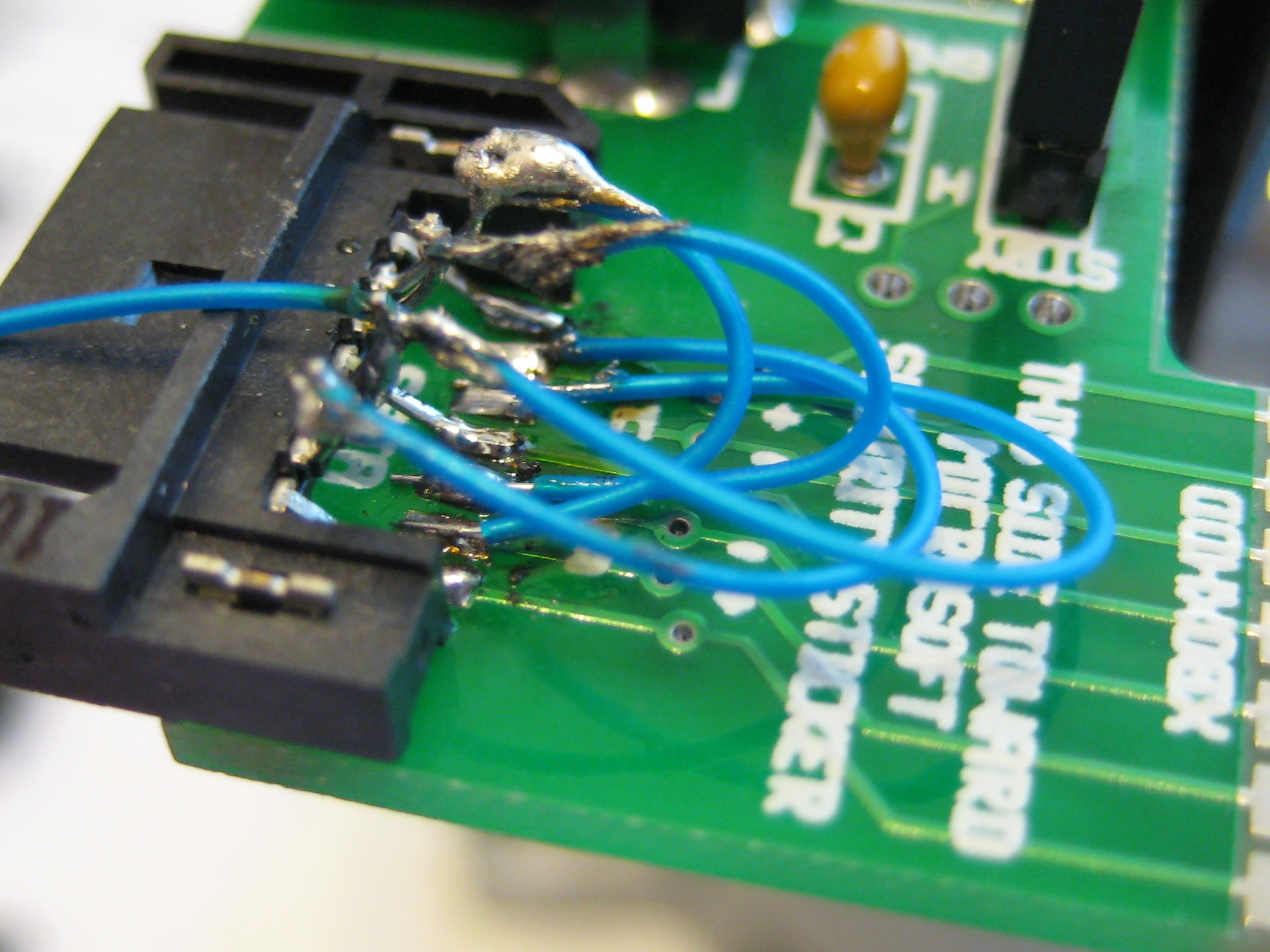 Photo of rewired SATA connector from the side ...