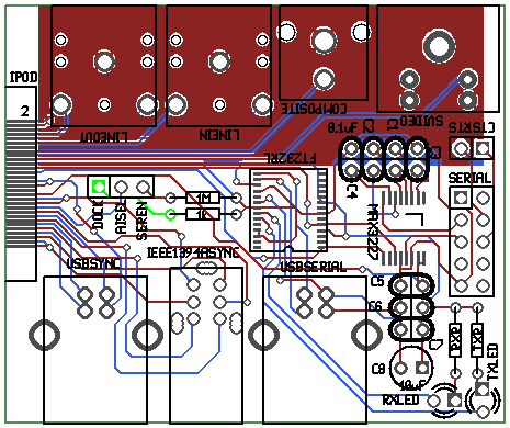 Rendered image of the iPod Ultradock PCB layout (Gerber) files.