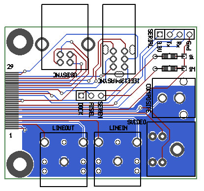 Rendered image of the iPod Ultradock version 3 PCB layout (Gerber) files.