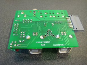 Photo of an assembled Ultradock board, view of the underside.