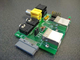 Photo of an assembled Ultradock board, from corner.