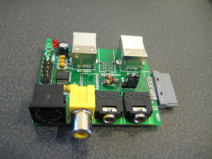 Photo of an assembled Ultradock board, viewing the A/V connectors.